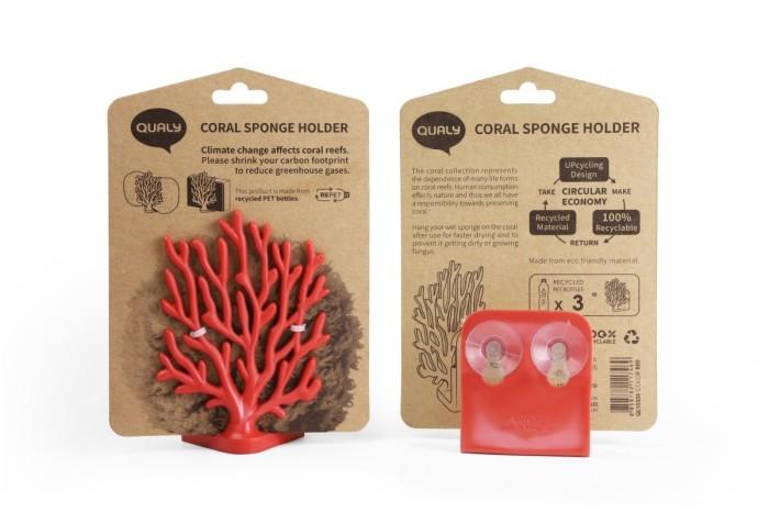 Coral sponge holder red