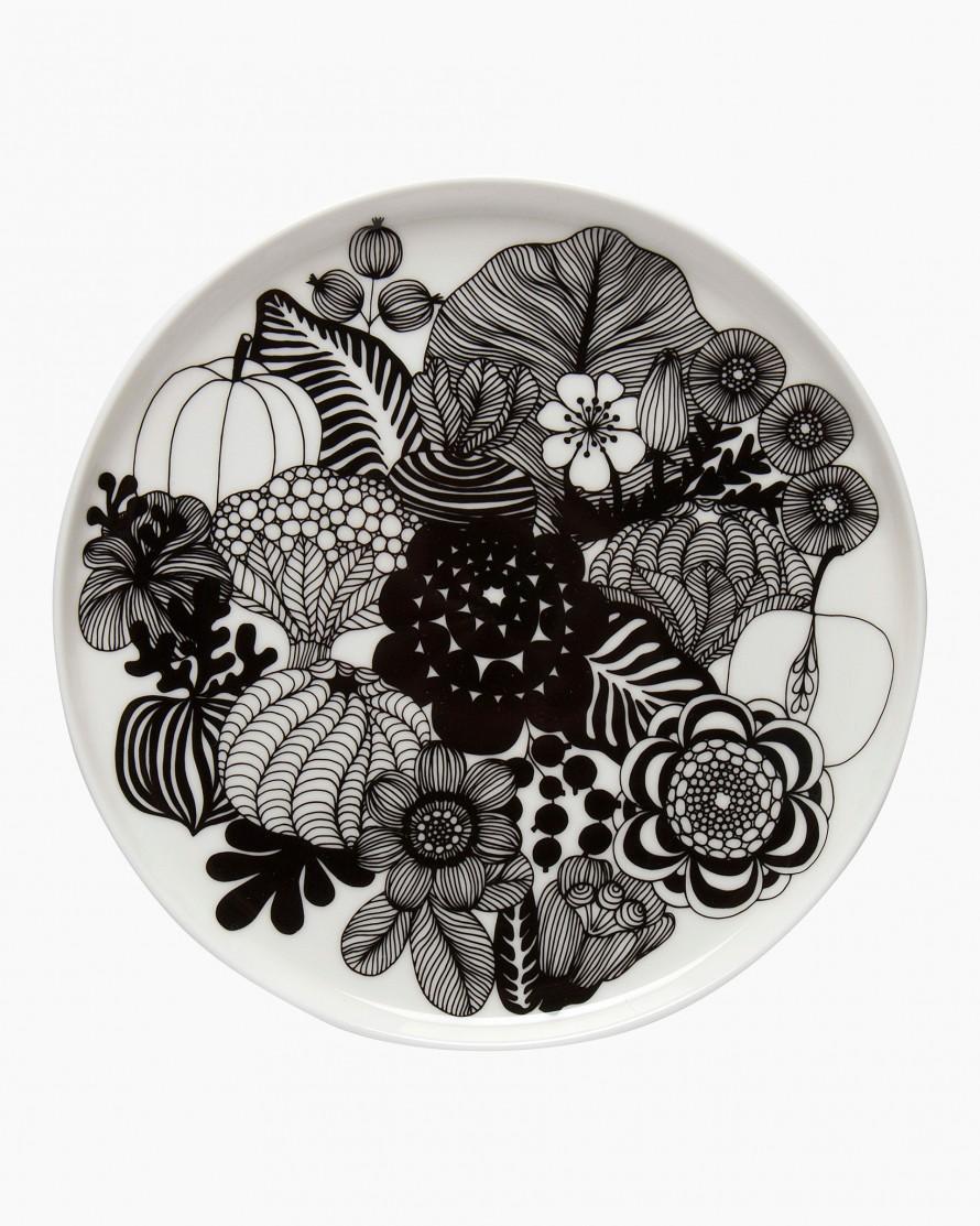 Siirtolapuutarha plate 20cm white/black bloem