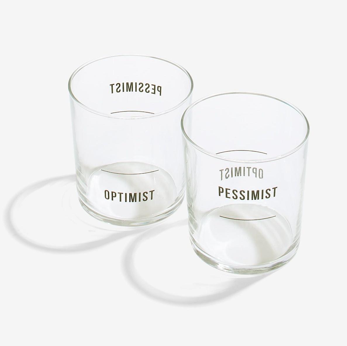 Optimist / pessimist glasses set of 2