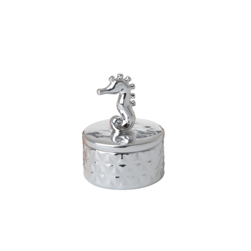 Tiny porcelain jewelry box seahorse silver