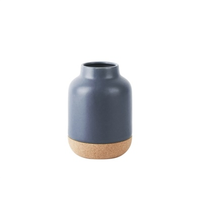 Vase craft small ceramic with cork blue