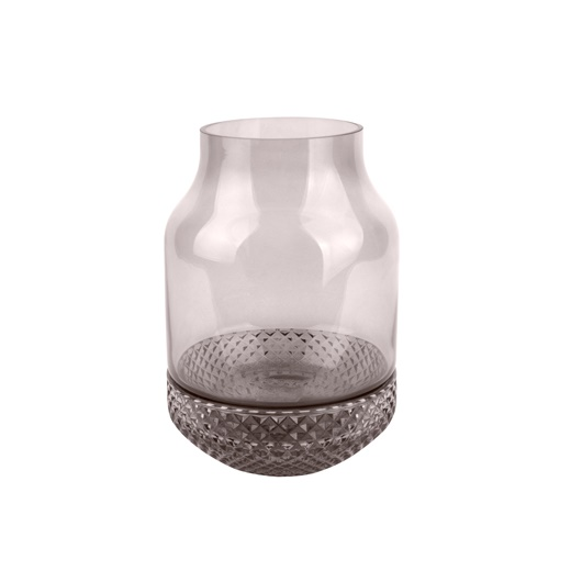 Vase gem glass dark grey