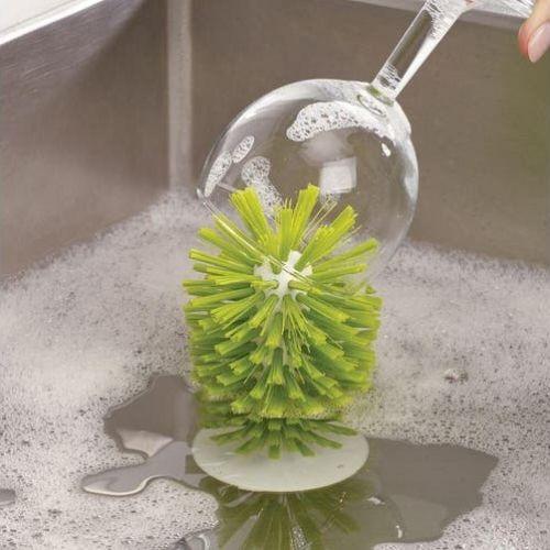 Aanrecht brush-up glazenborstel met zuignap grijs