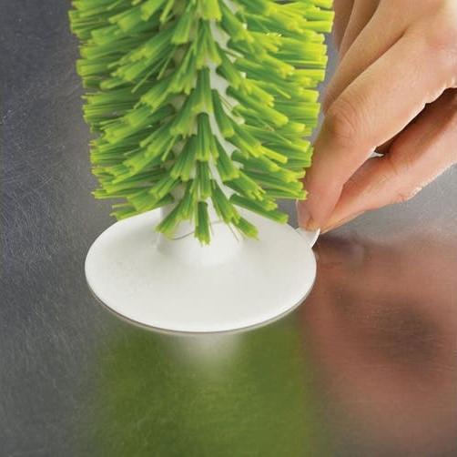 Aanrecht brush-up glazenborstel met zuignap wit