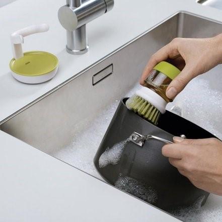 Palm afwasborstel met houder grijs