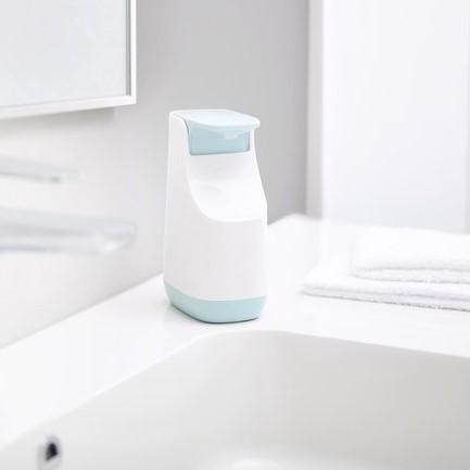 Zeepdispenser Slim creme/ licht blauw