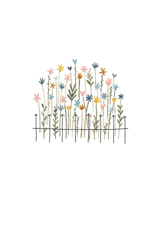 Gevouwen kaart - Bloemen