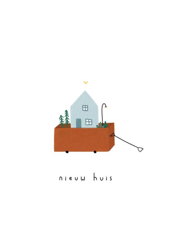 Gevouwen kaart - Nieuw huis bolderkar