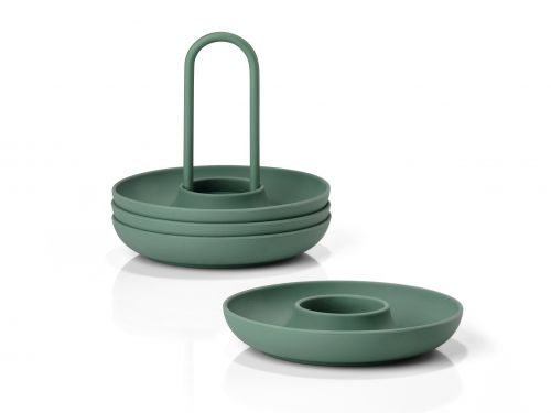 Egg cups with holder emerald