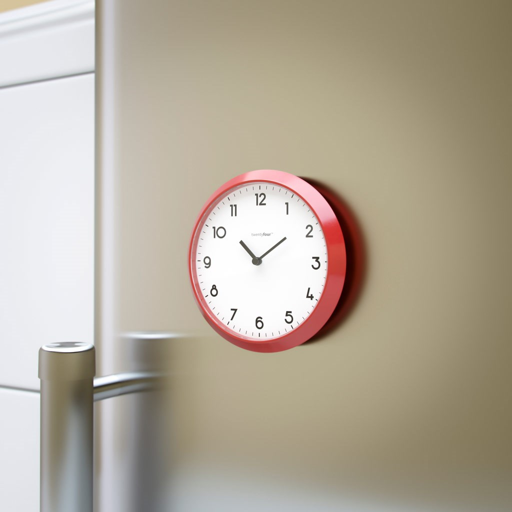 Magnetic clock tic tac red/white