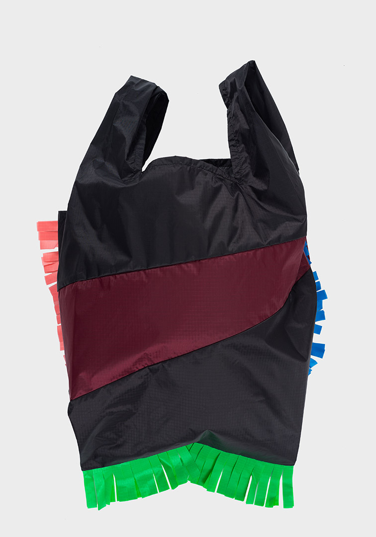 Shoppingbag Fringe Black & Burgundy L